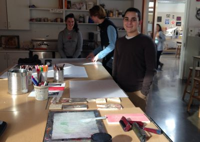Thrive students printmaking